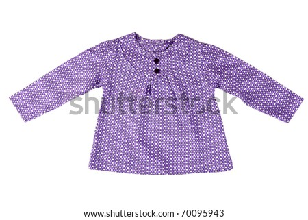 Junior purple spotted dress with a white background - stock photo