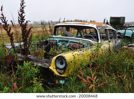 junk cars in farm - stock photo