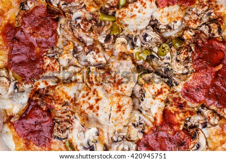 Junk fast food italian cuisine concept. Closeup of hot pizza. Delicious crusty unhealthy spicy meal. - stock photo