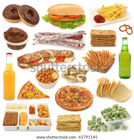 Junk food collection isolated on white background - stock photo