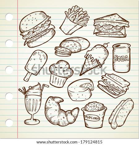 Junk Food Doodle - stock photo