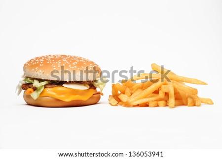 Junk Food - Hamburger and Fries - stock photo