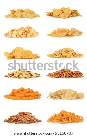 Junk food snack collection, isolated over white background. - stock photo