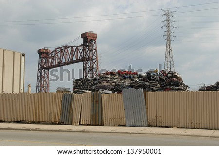 Junkyard in South side of Chicago - stock photo