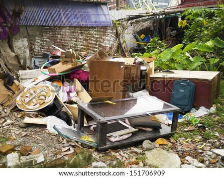 junkyard pile with lots of big garbage - stock photo