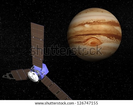 Juno spacecraft near Jupiter planet for observation mission. It was launched on 5 august, 2011 - Elements of this image furnished by NASA - stock photo