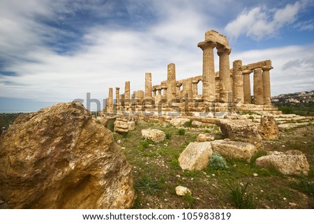 Juno Temple, Valley of temples, Agrigento, Sicily - stock photo