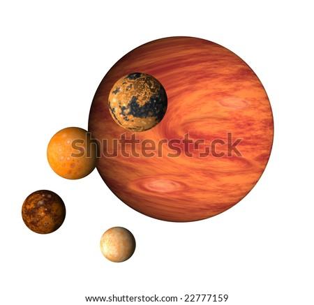 Jupiter and its 4 moons isolated on white background - stock photo