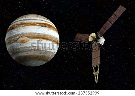 jupiter and satellite juno Elements of this image furnished by NASA - stock photo