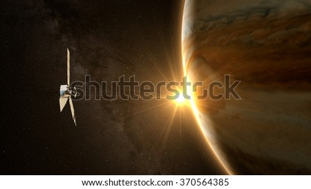 jupiter and satellite juno with beautiful sunset. Elements of this image furnished by NASA - stock photo
