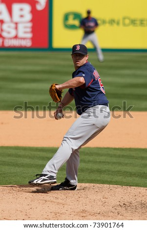JUPITER, FL USA - MAR. 24: Red Sox reliever Brandon Duckworth pitches during the Boston Red Sox vs. Florida Marlins spring training game on March 24, 2010 in Jupiter, FL.