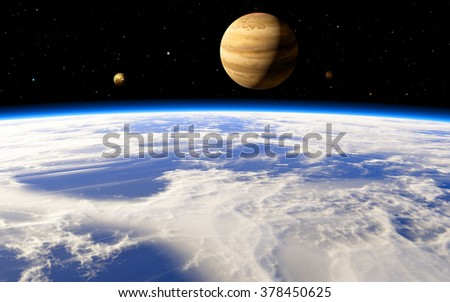 Jupiter's icy moon Europa in the distant future - stock photo
