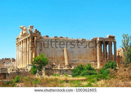 Jupiter's temple. Ancient Roman architecture, Baalbek, Lebanon