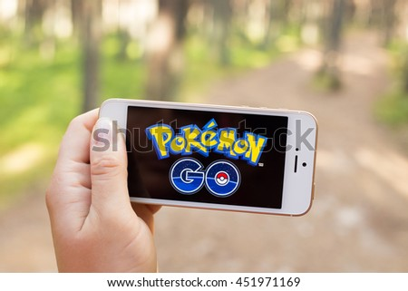 JURMALA, LATVIA - July 13, 2016: Pokemon Go is a location-based augmented reality mobile game. - stock photo