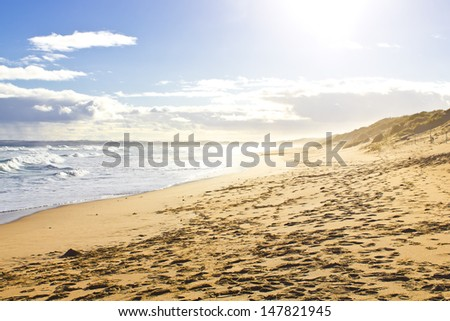 Just a beautiful landscape on an empty beach. - stock photo