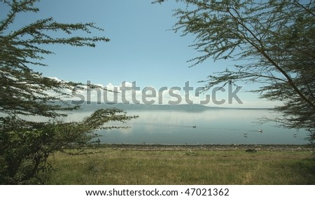Just after dawn African horizon over Lake Nakuru with trees framing the picture - stock photo