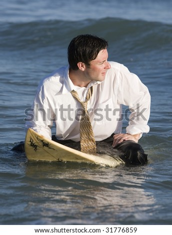 Just Another Day of Surfing at the Office - stock photo