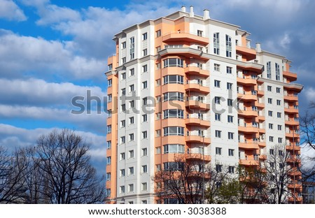 just built modern apartments block, dream house - stock photo