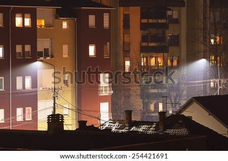 Just facades of buildings, showing contemporary architectural style which can be seen in Balkan cities.  - stock photo