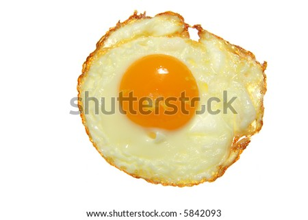just fried egg close-up on white background