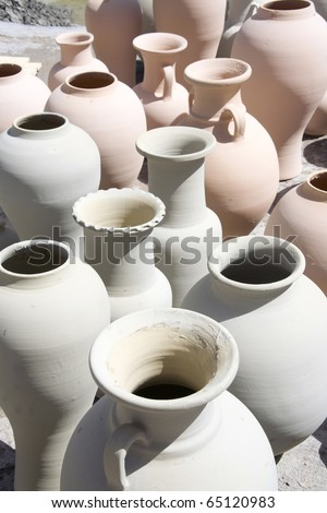 just made pots in morocco - stock photo