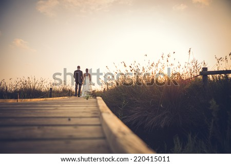 Just married couple on a wooden footbridge - stock photo
