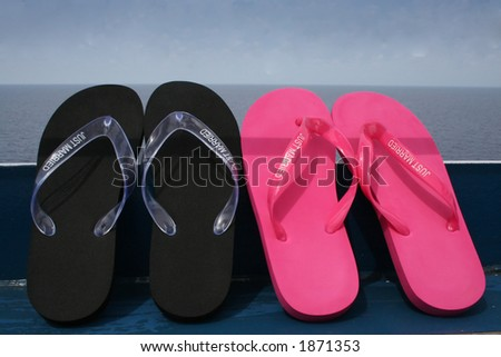 just married flip-flops - stock photo