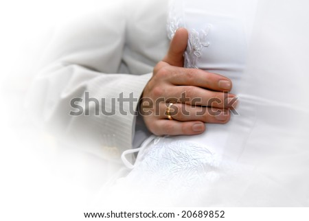 Just Married. Groom's hand with gold ring - stock photo