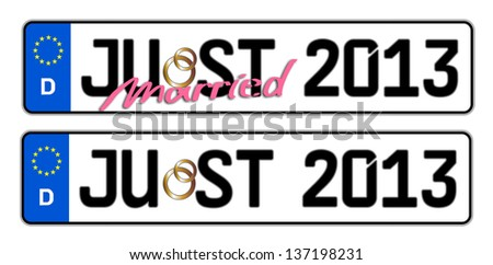 just married 2013 License Plate - stock photo