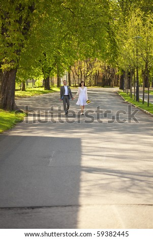 just  married running?by the way - stock photo