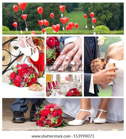 just married, wedding theme collage composed of different Images, red is the color