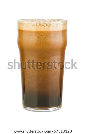 Just poured black stout beer with a rich avalanche scum in a classical pint glass. Isolated by clipping-path.