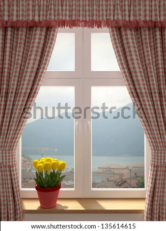 Just washed window with a wonderful view of the village and decorating in country style curtains - stock photo