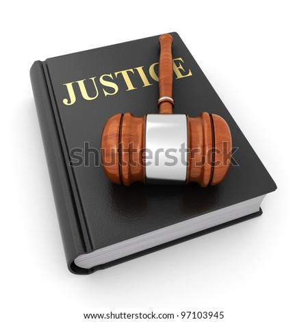 justice book and gavel - stock photo