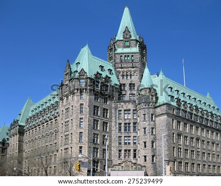Justice building, a landmark heritage government building in downtown Ottawa. Perspective corrected.