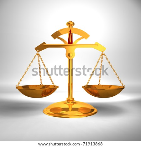 Justice concept - Gold Balance - 3D render image. - stock photo