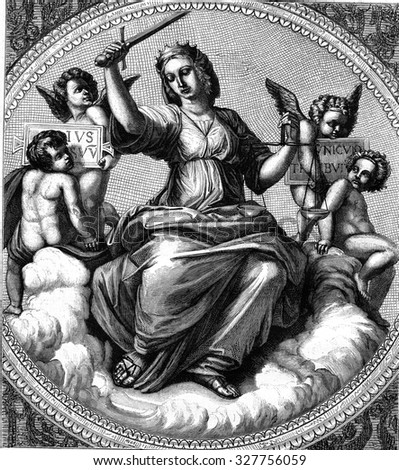 Justice, fresco by Raphael in the Vatican, vintage engraved illustration. Magasin Pittoresque 1877. - stock photo