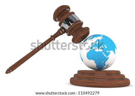 Justice Gavel with Earth Globe on a white background - stock photo