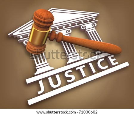 Justice + hammer - stock photo