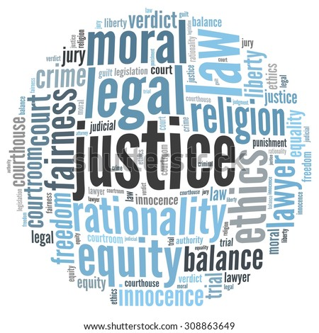 Justice in word collage - stock photo