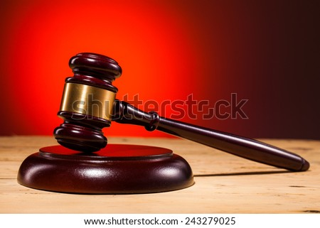justice judge gavel on wooden table