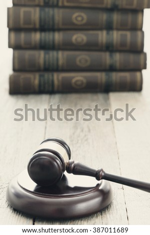 Justice. Judge hammer on the table - stock photo