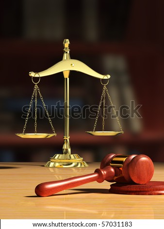 Justice scale and wood gavel, bookshelf visible on background. Digital illustration. - stock photo