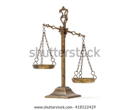 Justice Scale on white background