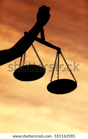 Justice Scale Silhouette - stock photo