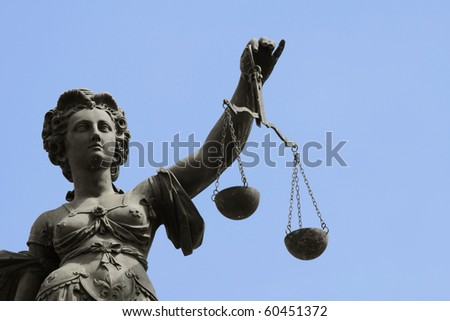 Justice statue in Frankfurt at the roemer - stock photo