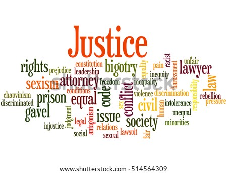 Justice word cloud concept on white background.
