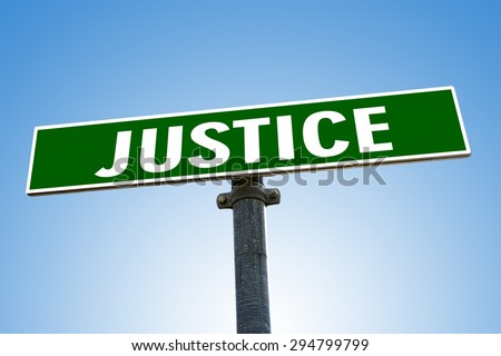 JUSTICE word on green road sign - stock photo