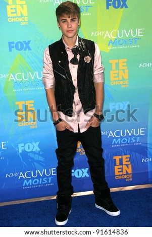 Justin Bieber at the 2011 Teen Choice Awards, Universal Amphitheater, Universal City, CA. 08-07-11 - stock photo
