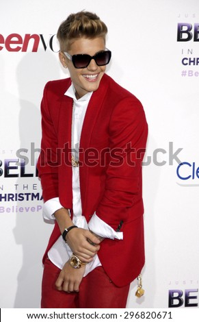 """Justin Bieber at the World premiere of """"Justin Bieber's Believe"""" held at the Regal Cinemas L.A. Live in Los Angeles on December 18, 2013 in Los Angeles, California.  - stock photo"""